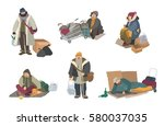 homeless people. cartoon flat... | Shutterstock .eps vector #580037035