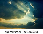 Beautiful Dramatic Sky With Sun ...