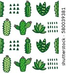 cute cactus and succulent...   Shutterstock .eps vector #580039381