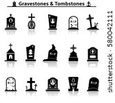 Gravestones And Tombstones Icons