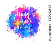watercolor happy holi and... | Shutterstock .eps vector #580042909