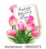 bouquet of pink tulips with a...   Shutterstock .eps vector #580052071
