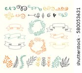 collection hand sketched... | Shutterstock .eps vector #580053631