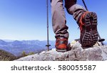 summer hiking in the mountains... | Shutterstock . vector #580055587