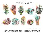 hand drawn vector abstract... | Shutterstock .eps vector #580059925