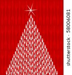 Christmas Tree made of white forks. Shiny star on top. Fork red pattern on the background. Also vector file available. - stock photo