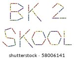 Colored crayons and the words bk 2 skool. Also vector file available. - stock photo
