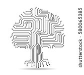 circuit board tree icon.... | Shutterstock .eps vector #580065385