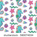 cute colorful childish sea... | Shutterstock .eps vector #580074034