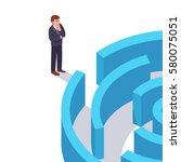 businessman standing in front... | Shutterstock .eps vector #580075051