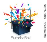 surprise box isolated on white... | Shutterstock .eps vector #580076035