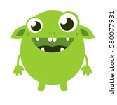cute green monster | Shutterstock .eps vector #580077931