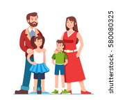 parents standing together with... | Shutterstock .eps vector #580080325
