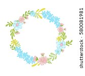 hand painted wreath | Shutterstock . vector #580081981