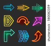neon realistic arrows signs  | Shutterstock . vector #580082359