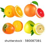 orange  grapefruit  persimmon ... | Shutterstock . vector #580087381