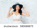 young happy asian woman smiling ... | Shutterstock . vector #580088875