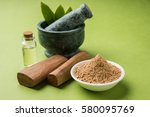 chandan or sandalwood powder... | Shutterstock . vector #580095769