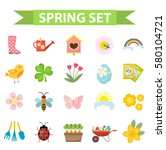 spring icons set  flat style.... | Shutterstock .eps vector #580104721