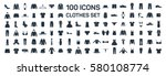 clothes 100 icon set on white...