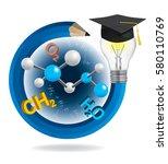 idea pencil with graduation cap ... | Shutterstock .eps vector #580110769
