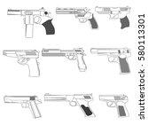 set of modern combat pistols in ... | Shutterstock .eps vector #580113301