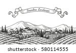 vineyard seamless landscape.... | Shutterstock .eps vector #580114555