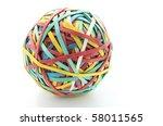 rubber band ball on white... | Shutterstock . vector #58011565