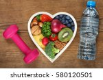 healthy food in heart shaped