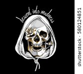 Metallic Skull In A Hood With ...