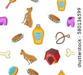 doggy pattern. cartoon... | Shutterstock . vector #580136599