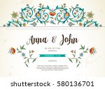 vector vintage wedding... | Shutterstock .eps vector #580136701
