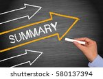 summary   arrows with text and... | Shutterstock . vector #580137394