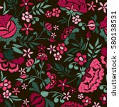 embroidery seamless pattern... | Shutterstock .eps vector #580138531