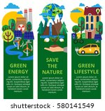 green city set. environmental... | Shutterstock .eps vector #580141549