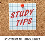 the words study tips in red...   Shutterstock . vector #580145095