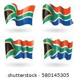 south africa flag waving set | Shutterstock .eps vector #580145305