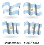 argentina flag waving set   Shutterstock .eps vector #580145365