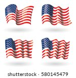 usa flag waving set | Shutterstock .eps vector #580145479