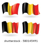 belgium flag waving set | Shutterstock .eps vector #580145491
