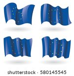 europe flag waving set | Shutterstock .eps vector #580145545