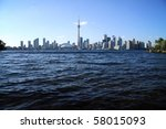 View of Toronto cityscape from Central Island - stock photo