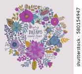 vector circle frame  wreath... | Shutterstock .eps vector #580154947
