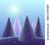 christmas trees on blue... | Shutterstock . vector #580159489