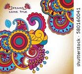 vector floral pattern in doodle ... | Shutterstock .eps vector #580160041