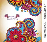 vector floral pattern in doodle ... | Shutterstock .eps vector #580160617