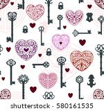 seamless pattern with vintage... | Shutterstock .eps vector #580161535