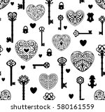 seamless pattern with vintage... | Shutterstock .eps vector #580161559