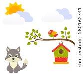 Cartoon Bird With Birdhouse On...
