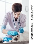 Stock photo professional veterinarian injecting a vaccine to a cat using a syringe pet care concept 580163944